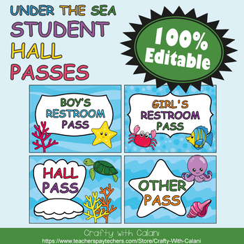 Student's Hall Pass in Under The Sea Theme - 100% Editable