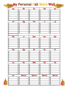 Student's Personal Fall Word Wall - Use w/ File Folders/Writing Notebooks