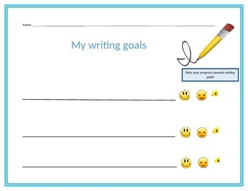 Student self assessment for writing goals