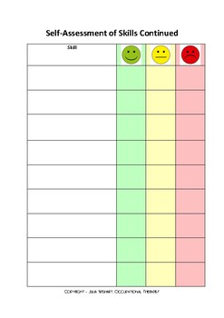 Student self assessment of skill level