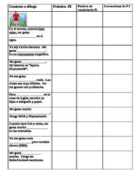 Student self study vocab list level 1 Spanish activities