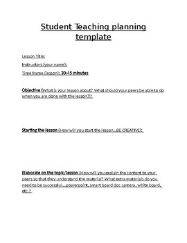 Student teaching planning template