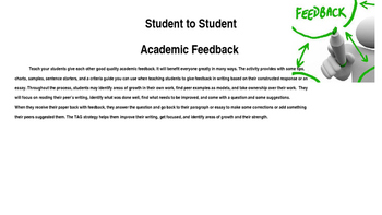Student to Student Feedback