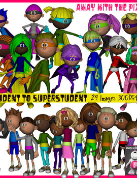 Student to Superhero Student Clip Art - 24 Clipart Images