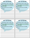 Student to Teacher Comment Cards