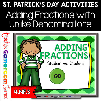 Student vs Student - Adding Fractions St. Patrick's Day Powerpoint Game