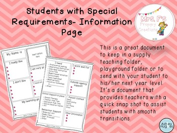 Student with Special Requirements Information page