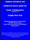 Student worksheet answer guide for Grade 4 Math M-STEP Assessment
