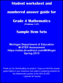 Student worksheet answer guide for Grade 4 Math M-STEP Assessment