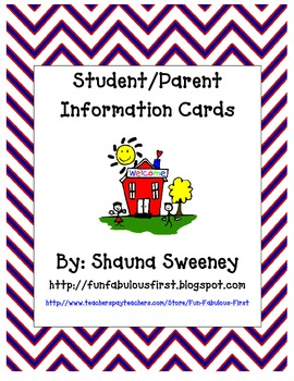 Student/Parent Information Cards (English & Spanish Version)