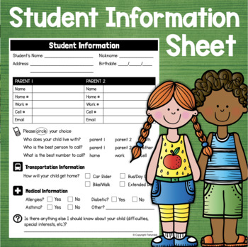 FREE Beginning of the Year Student Information Sheet