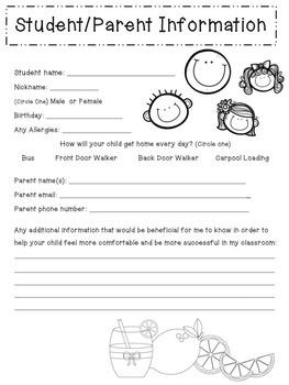 Student/Parent Information Sheet