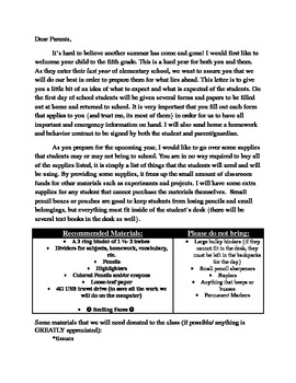 Student/Parent Summer Letter