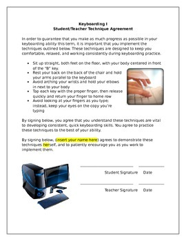 Student/Teacher Keyboarding Agreement