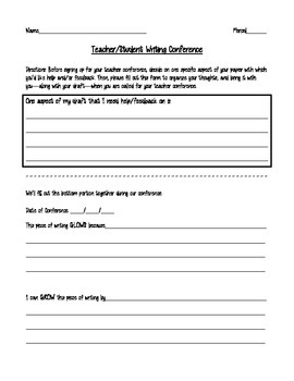 Student/Teacher Writing Conference Sheet