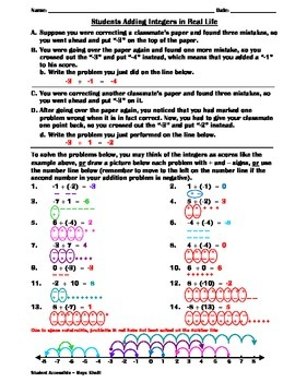 Students Adding Integers in Real-Life Worksheet