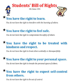 Students' Bill of Rights classroom management rules