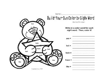 Build-Your-Own Color by Sight Word | Dolch Primer