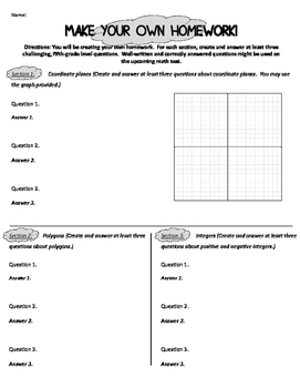 "Students ""Create Your Own Homework and Answers"" Activity"