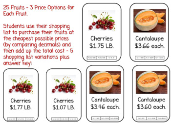 Comparing Decimals (Students Shop To Compare Prices) Assessment Activity 4.NF.7