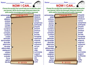 Students' I CAN STATEMENT Writing Templates: Language Arts, Math, Science. 6-12.