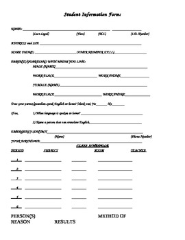 Students Information Form (2 samples- English and Spanish)