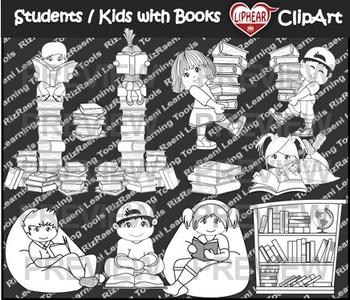 Students/Kids with Books Clip Art [black & white]