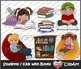 Students/Kids with Books Clip Art [color + black & white]
