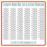 Students Make Multiplication Problems - DIY Times Tables Sums Template Clip Art