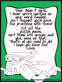 Students Practice Word Families &  Rhyming With  Classroom Elf Bonuses included!