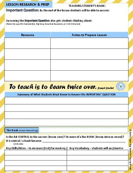 Students Teaching Students: lesson prep forms ANY SUBJECT
