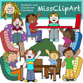 Students and Flexible Seating (Color and B&W) {MissClipArt}
