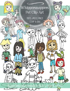 Clip Art: Hand Drawn Students with their Pets, Personal and Commercial Use