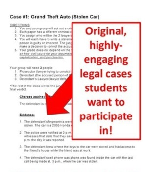 Student Lawyers: Criminal Court Cases with PowerPoint CCSS.ELA-LITERACY.W.8.1