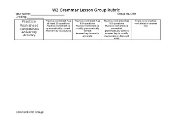 Students as Teachers Rubric - Grammar Lesson