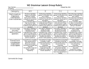 Students as Teachers Rubric - Grammar Lesson