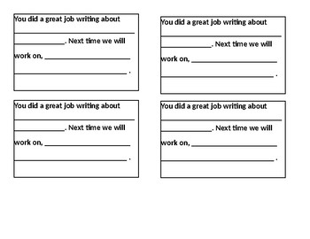 Students comments  template for writing samples