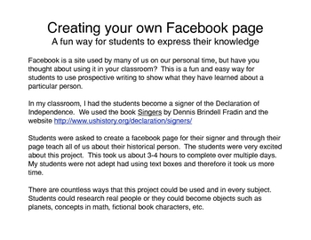 Students create their own 'facebook' page
