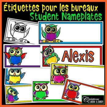 Students Nameplates, Labels : Étiquettes pour identifier les bureaux