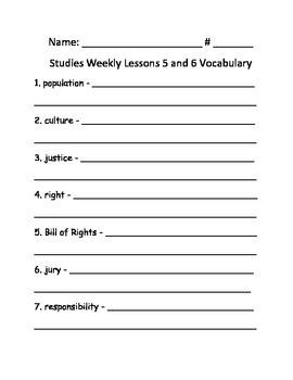 Studies Weekly 5 & 6 Voc. & Test - Third Grade