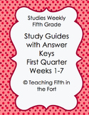 Studies Weekly Study Guides - First Quarter Weeks 1-7 Fifth Grade