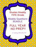 Studies Weekly USA Fifth Grade Weekly Questions FULL YEAR BUNDLE - NO PREP