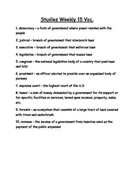 Studies Weekly Week 15 Voc.  - Third Grade