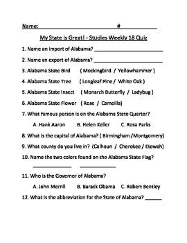 Studies Weekly Week 18 My State is Great Test  - Third Grade