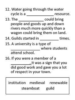 Studies Weekly Weeks 12 & 13 Test  - Third Grade