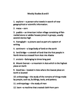 Studies Weekly Weeks 8 & 9 Voc. - Third Grade