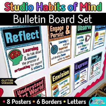 Studio Habits of Mind Posters | Glitter Printables for Art Room Bulletin Boards