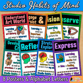 Studio Habits of Mind Posters | Glitter Printables for Art Room Bulletin Boards