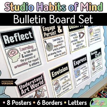 Studio Habits of Mind Posters | Watercolor Printables, Art Room Bulletin Boards
