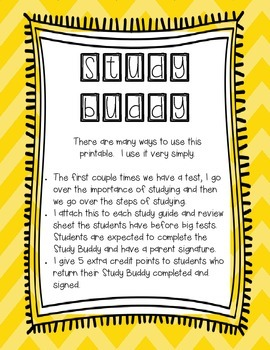 Study Buddy - A printable to help students study!
